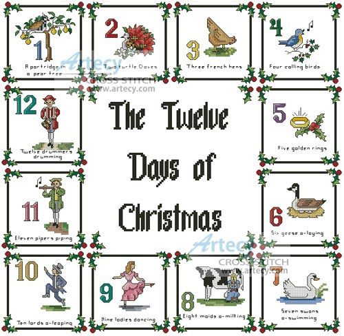 this counted cross stitch pattern of a 12 days of christmas sampler was designed by artecy cross stitch stitch the whole design as a sampler or use the
