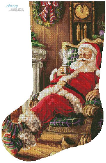 artecy cross stitch santa resting stocking left cross stitch pattern to print online