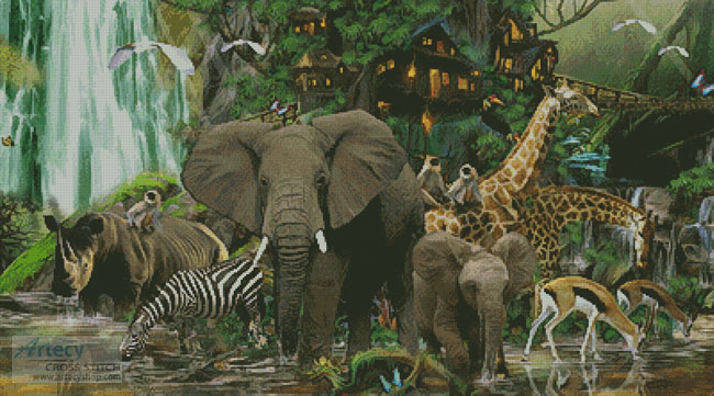 Artecy cross stitch african rainforest cross stitch pattern to african rainforest cross stitch pattern to print online sciox Image collections