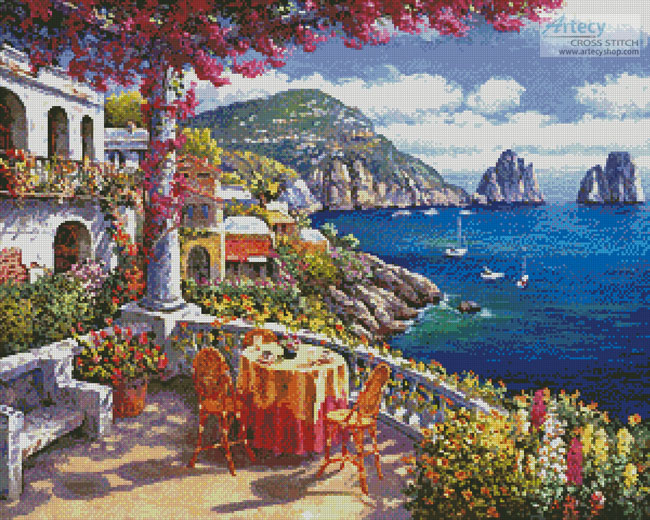 Artecy cross stitch capri morning cross stitch pattern to for Crossing the shallows tile mural