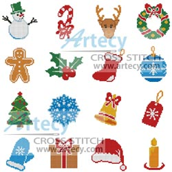 Artecy Cross Stitch. Christmas Motifs 8 Counted Cross Stitch Pattern to print online.