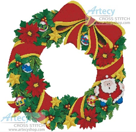 Artecy Cross Stitch Christmas Wreath 2 Cross Stitch Pattern To