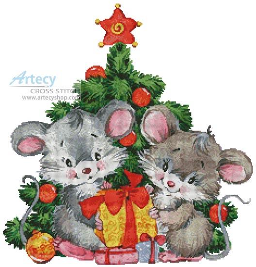 Artecy Cross Stitch. Cute Christmas Mice Cross Stitch Pattern to ...