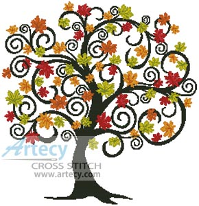 Artecy Cross Stitch Decorative Autumn Tree Counted Pattern To Print Online