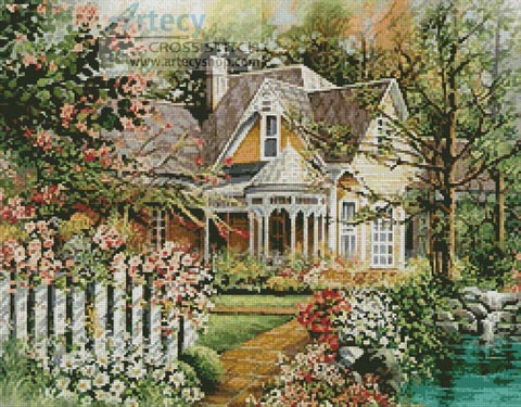 Artecy Cross Stitch House With A Picket Fence Cross