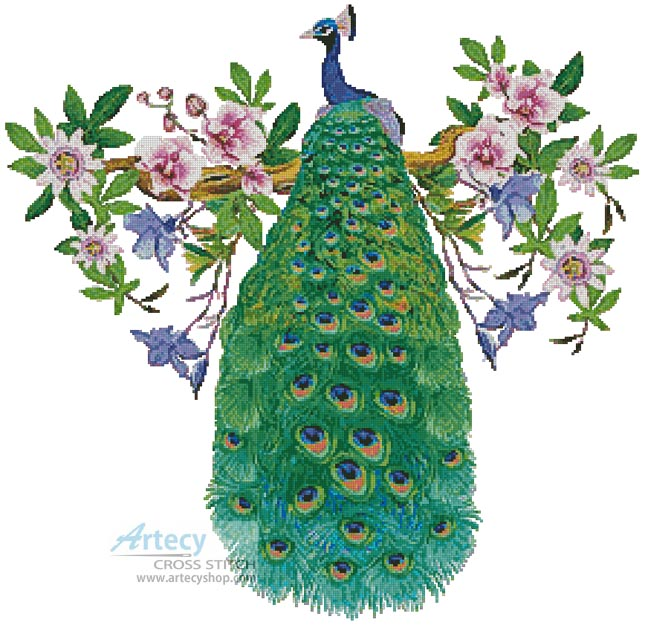 Artecy Cross Stitch Peacock With Passionflower Cross Stitch Pattern