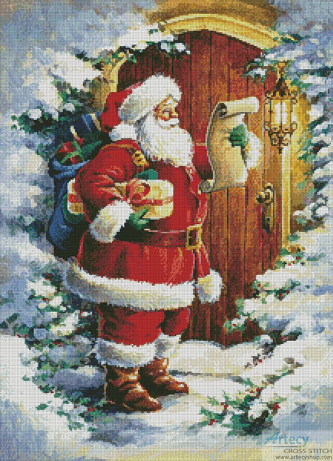 Santa at the Door Cross Stitch Pattern to print online. & Artecy Cross Stitch. Santa at the Door Cross Stitch Pattern to print ...