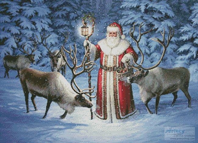 santa with reindeer cross stitch pattern to print online - Santa With Reindeer