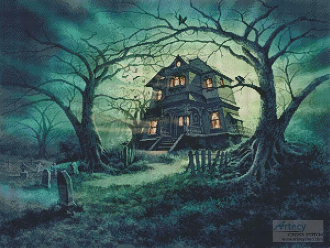 Artecy Cross Stitch The Haunted House Cross Stitch