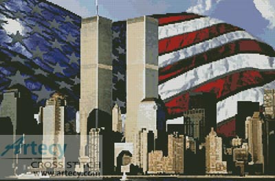 American Flag Twin Towers