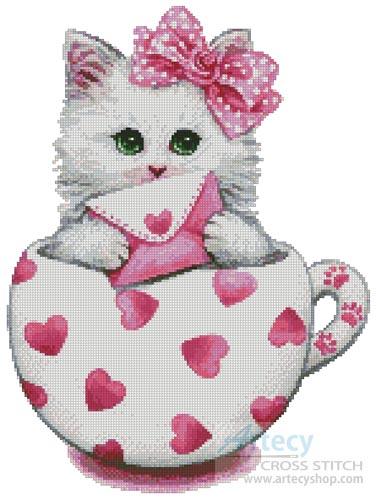 Artecy Cross Stitch Valentine Kitty Cup Cross Stitch Pattern To