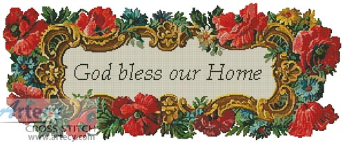 Very Artecy Cross Stitch. God Bless our Home Cross Stitch Pattern to  SH34