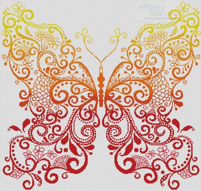 Artecy Cross Stitch  The Red Orange Yellow Butterfly Cross